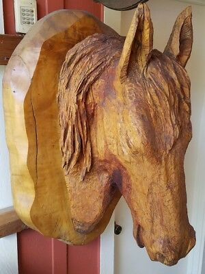 Beautiful Large Carved Wood Horse Head