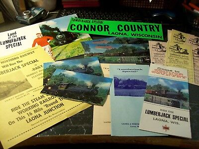 Laona & Northern Rr - Wisconsin - Lot Of Adv Pieces, Tickets, Equipment Booklet