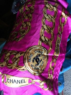 vintage chanel silk scarf Pink With Gold Chains Luxury Authentic