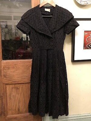 1950s dress with sailor style collar - black cotton eyelet