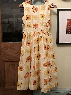 1950s dress with attached tulle crinoline - orange, yellow, and brown floral
