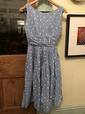 1950s dress with ruching - blue and white polka dot