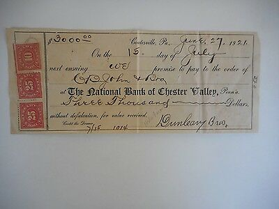 U.S. # R 236 on 1921 Promissory Note of National Bank Chester Valley, PA.