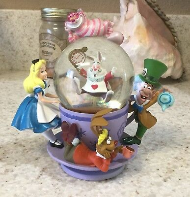 Disney Parks Alice in Wonderland Spinning Tea Cup Resin Snow Globe CHESIRE CAT