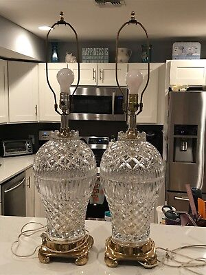 Large Pair of Vintage Barrel Brass Waterford Crystal Lamps