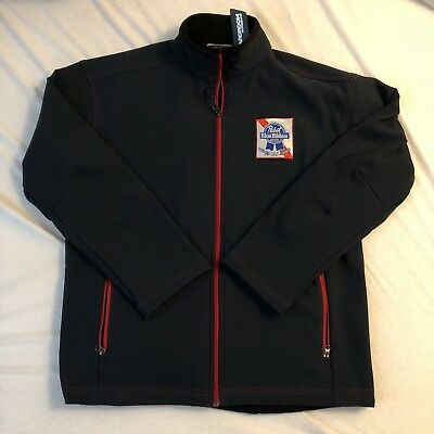 New Pabst Blue Ribbon Beer Soft Shell Delivery Driver Hipster Jacket Medium