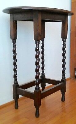 Antique English End Table Side Table Carved Solid Oak with Barley Twist Legs