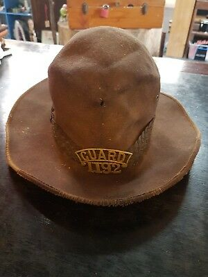 Antique Railway Hat With Brass Guard 1192 Badge