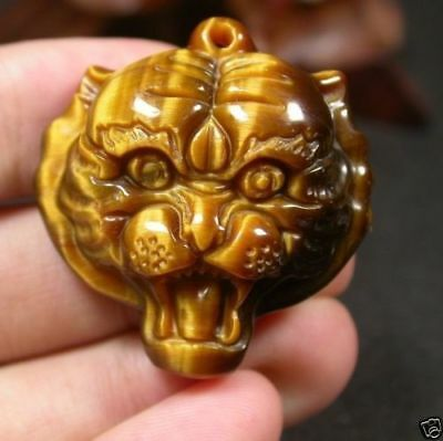 CHINESE Tiger CAT Eye JADE PENDANT Tiger Head Amulet 297150