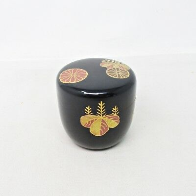 F041: Japanese lacquered powdered tea container with traditional KODAI-JI MAKIE