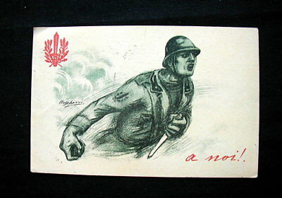 1918 Italy RARE military YMCA used postcard WWI art signed Boschini
