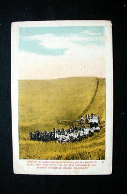 1918 Italy RARE YMCA used postcard Harvesting of wheat in USA