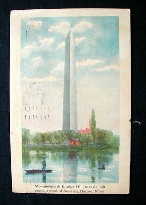 1925 Italy RARE YMCA used postcard BOSTON Monument Bunker Hill