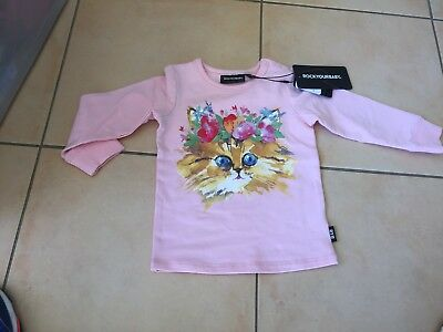 Rock Your Baby Cats Meow Ls Tee Sz 6-12 Months Bnwt Rrp $39.99