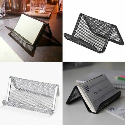 Metal Wire Mesh Business Card Display Holder Desk Accessories Useful Black ST1