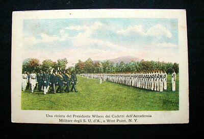 1920s Italy RARE YMCA military pc WEST POINT President Wilson visits Cadets