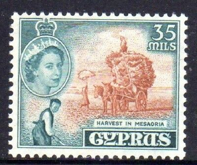 1955-60 CYPRUS 35m harvest in Mesaoria SG181 mint unhinged