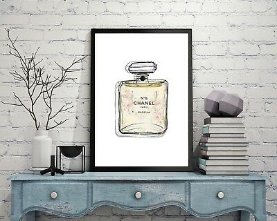 Coco Chanel Perfume Wall Art Poster Print Fashion Designer Parfum No5 Bottle