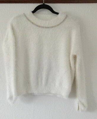PAVEMENT girls soft and fluffy white jumper knit worn once as new $60