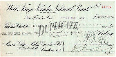 1917 Wells Fargo Nevada National Bank Duplicate Check  London England