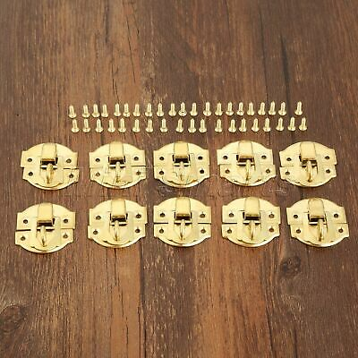 Gold Tone Wooden Jewelry Box Latch Clasps Hasps Dollhouse Chest Hardware 10pcs