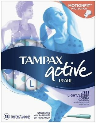 Tampax Pearl Active Tampons Light Unscented 18 Each (Pack of 4)