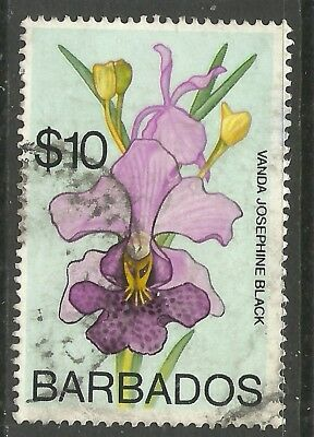 Barbados - QEII Orchids definitive $10 - SG500 - VFU - Cat £14