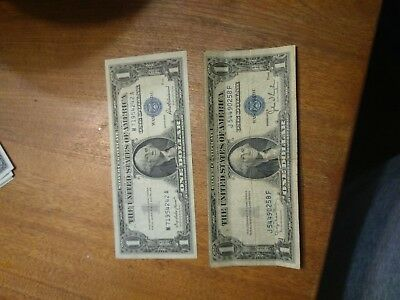 Two Washington DC one dollar silver certificates good looking 1957 & old 1935 D