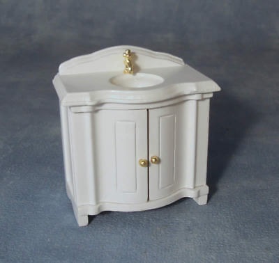 Dolls House Miniature 1/12 Scale White Bathroom Vanity Sink Unit DF240