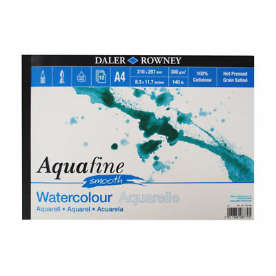Daler Rowney Aquafine Watercolour Pad Hot Pressed 140lb / 300gsm - A4 SMOOTH
