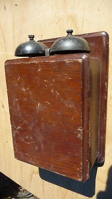 PMG telephone bell box vintage old wood timber 1920s extension candle stick