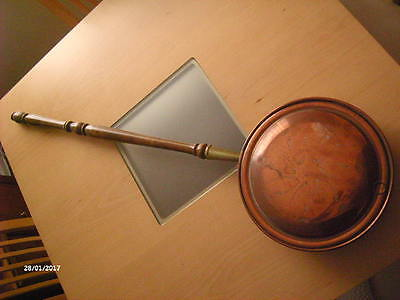 Vintage Copper Bed Pan Warmer  Engraved With Wooden Handle