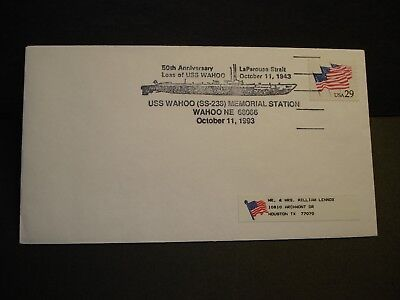 Submarine USS WAHOO SS-238 Naval Cover 1993 SUNK WWII w/ insert