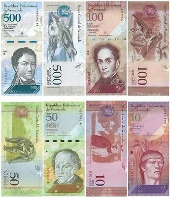 Venezuelan Bolivares - $500, $100, $50 and $10 notes