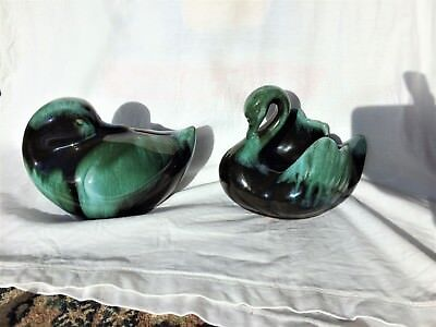 Vintage Canadian pottery BLUE MOUNTAIN   swan planter / bowl & duck moneybox