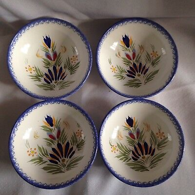 "4 Quimper Hand Painted Bowls - 5.1/4"" dia"