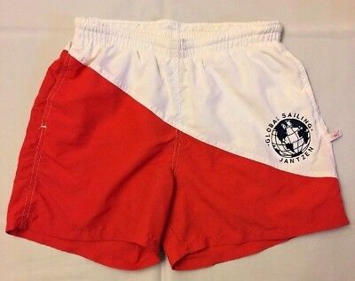 Jantzen Swim Trunks Lined Swimmer Tag Colorblock Red White Sailing Shorts Small