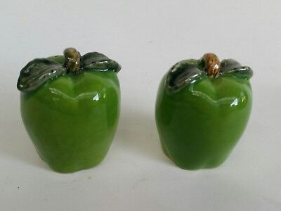 Super Cute Vintage Granny Smith Green Apple Salt and Pepper Shakers