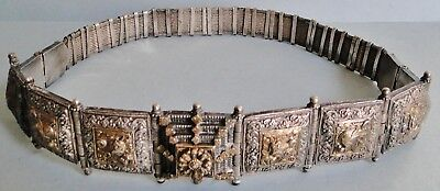 Exceptional Antique Silver & Gilt North India Silver & Gold Belt 19Th C. 633 Gr.
