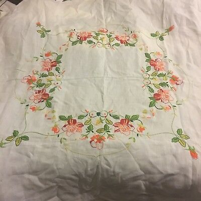 VINTAGE 1930s ART DECO HAND EMBROIDERED ENGLISH LINEN TABLE CLOTH ORANGE ROSES