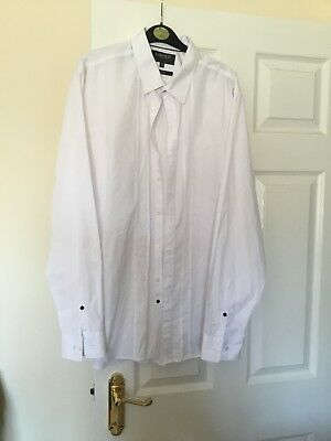 Mens Formal / Dress White Shirt M&S Limited Collection 17.5 Collar Slim Fit