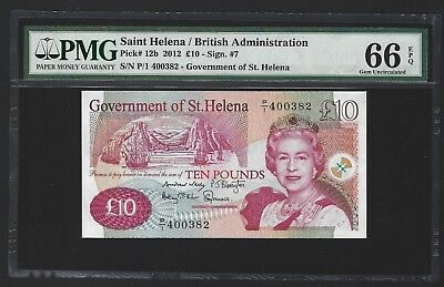 2012 St Helena 10 Pounds, PMG 66 EPQ GEM UNC, Scarce, Serial Number 382! P-12b