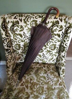 Vintage Umbrella with Tortoise Shell Lucite Cane Handle & Long Silver Metal Tip