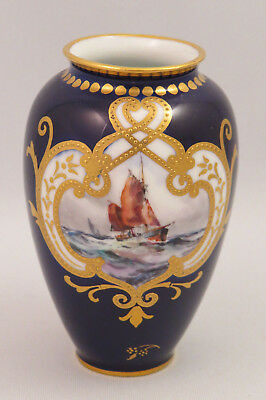 Royal Crown Derby Cabinet Vase With Scene Painted By Wej Dean