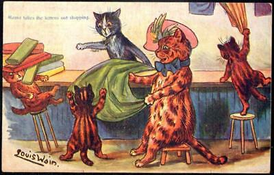Anthropomorphic Cat PPC 1905 - 'Mama Takes the Kittens Shopping ' - Louis Wain