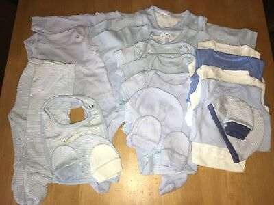 Baby Boy 22 Piece Blue Clothes Bundle Mothercare Up To 1 Month Old