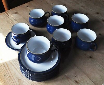 Denby Imperial Blue - 8 small teacups & saucers