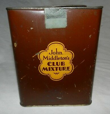 Vintage Empty Tobacco Tin - John Middleton's Club Mixture w/ tax stamp