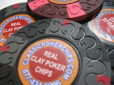 (6) CPC Classic Poker Chips 44mm oversized manufacturer samples. A-Crest Scroll