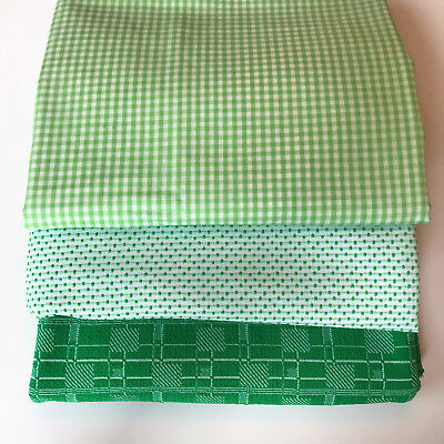 Vintage Early '70's Fabric from Closed Fabric Store Green Gingham Dot Geometric